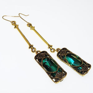 Long Blue Green Stone Dangle Women Bohemian Jewelry Antique Drop Earrings