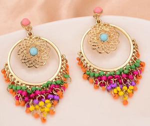 Bohemia Retro Stylish Colorful Carved Hollow Elegant Charm Drop Dangle Long Earrings