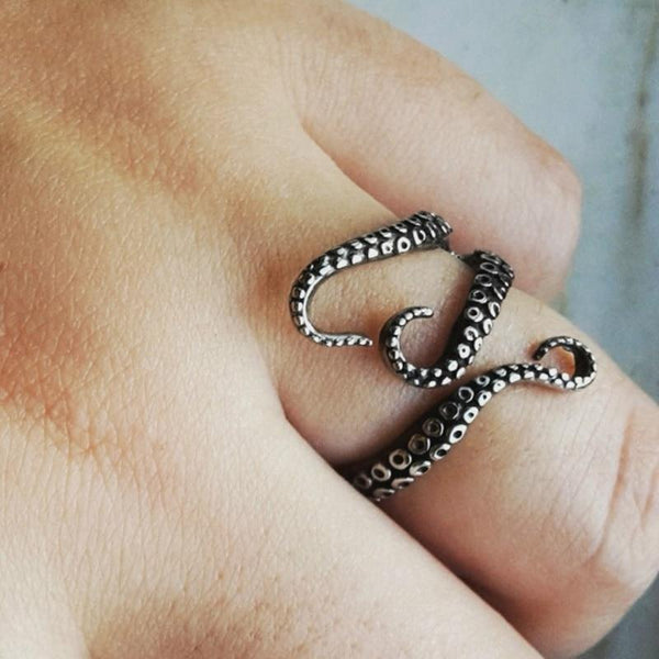 Adjustable Punk Octopus Catch Ring Opening Rings