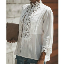 Load image into Gallery viewer, Casual Solid Color Cotton Lace Patchwork Blouses Tops