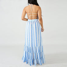Load image into Gallery viewer, Sexy Striped Halter Neck Spaghetti Strap Sundress Maxi Dress