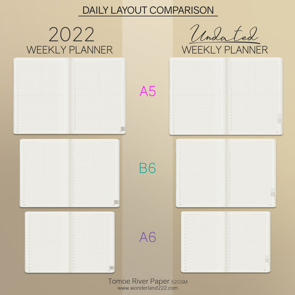 Wonderland 222 Dated and Undated Weekly Planner Comparison - Daily Spread