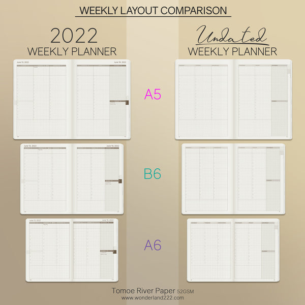 Wonderland 222 Dated and Undated Weekly Planner Comparison - Weekly Spread