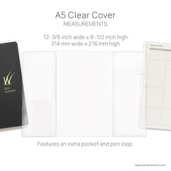 Clear Vinyl notebook and planner covers by Wonderland 222 in sizes A5, B6 and A6