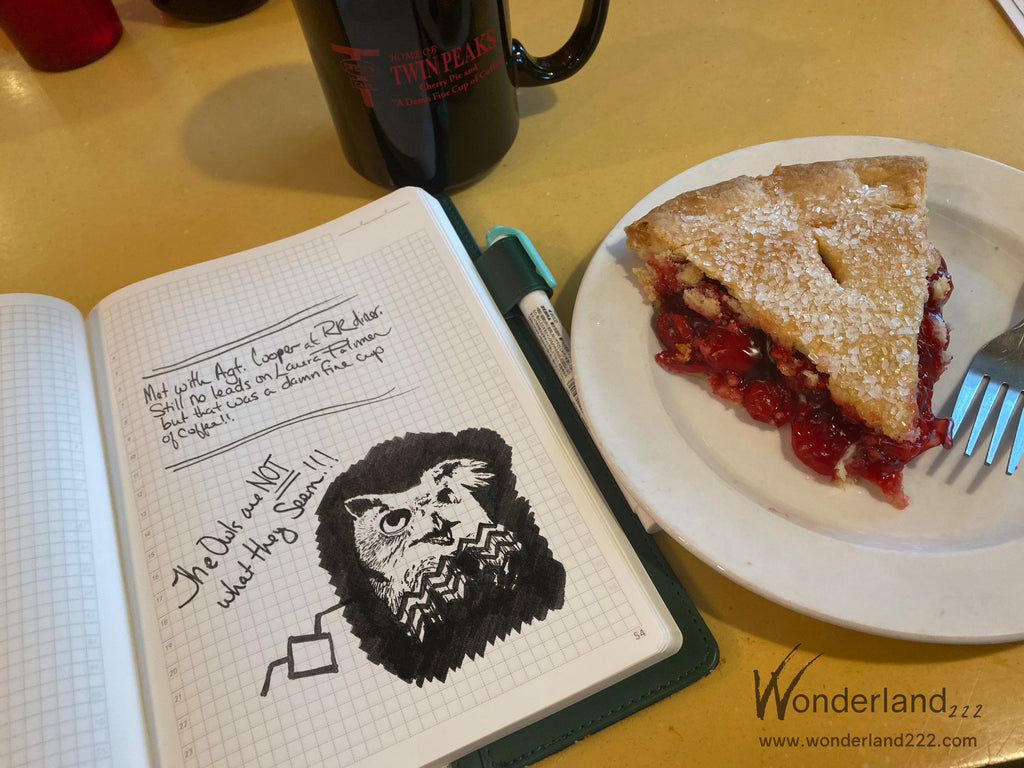 Damn fine cup of coffee and cherry pie with wonderland 222 Tomoe River Paper notebook - Twin Peaks fan