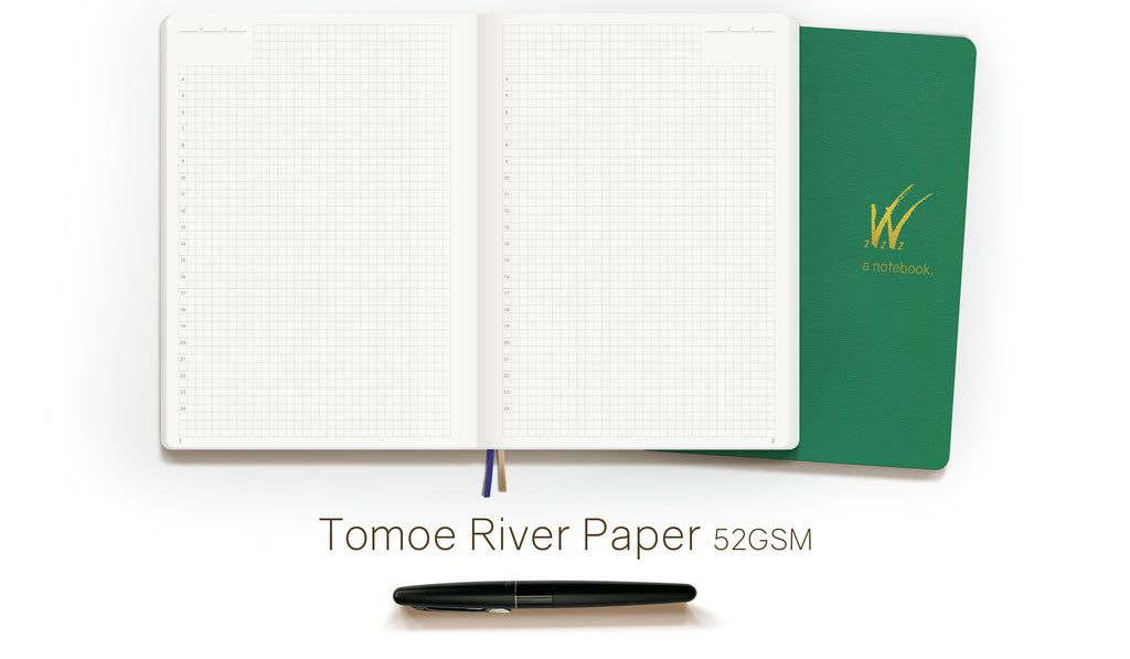Tomoe River Paper Notebook.  Fountain Pen and watercolor friendly 52 gsm ultra thin lightweight paper.  Wonderland 222 Wonderplanners and notebooks.
