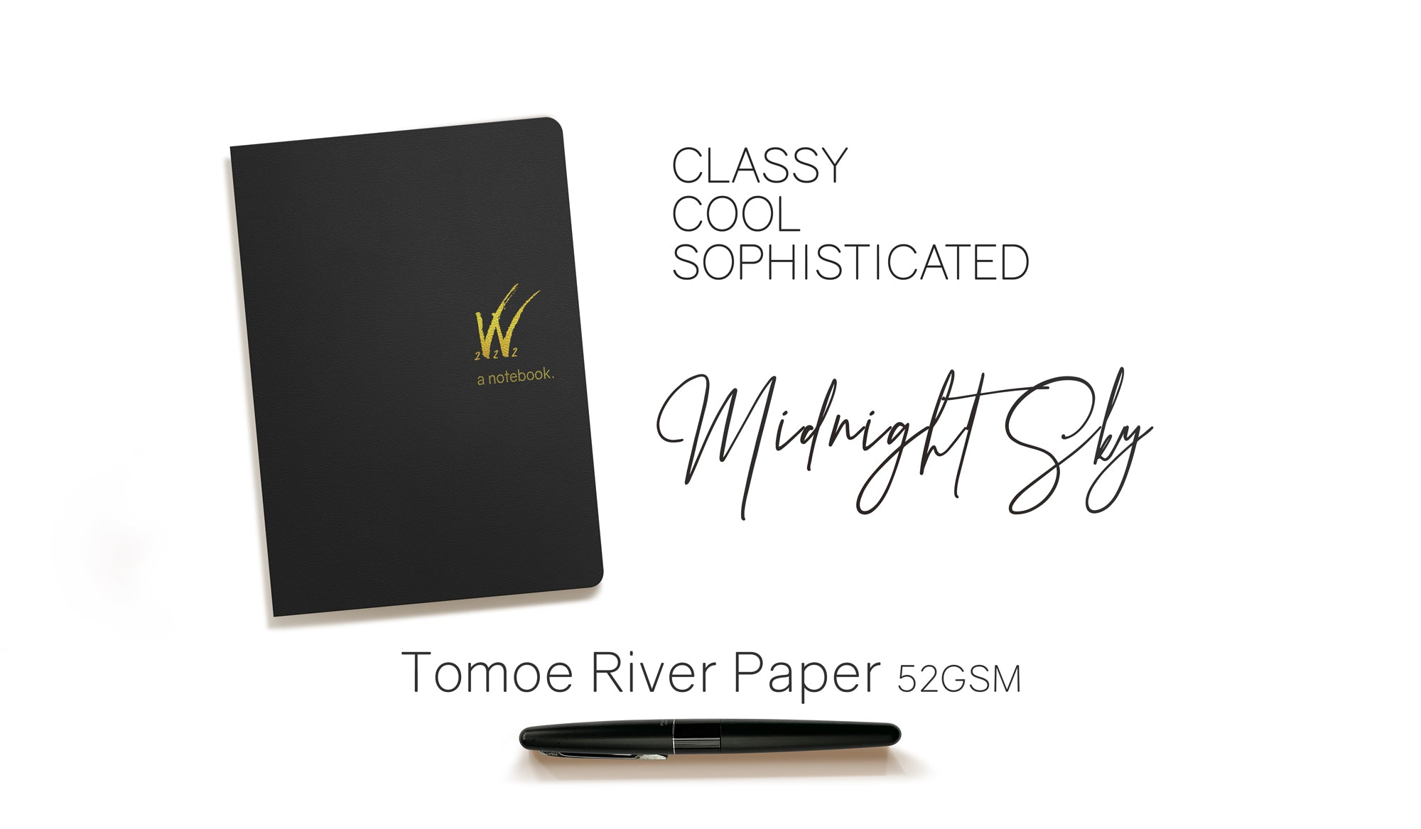 B6 52gsm Tomoe River Paper Notebook with black cover by Wonderland 222.  368 pages of smooth, ultra lightweight fountain pen friendly Tomoe River Paper.