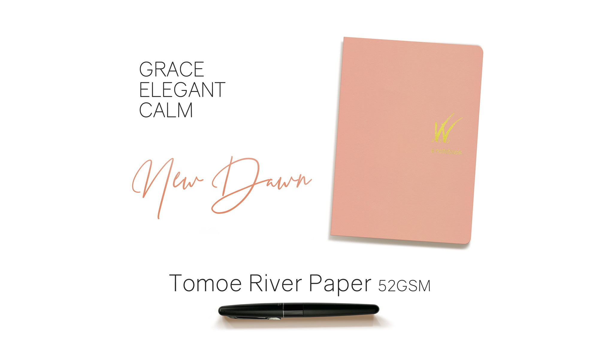 B6 52gsm Tomoe River Paper Notebook with peach cover by Wonderland 222.  368 pages of smooth, ultra lightweight fountain pen friendly Tomoe River Paper.