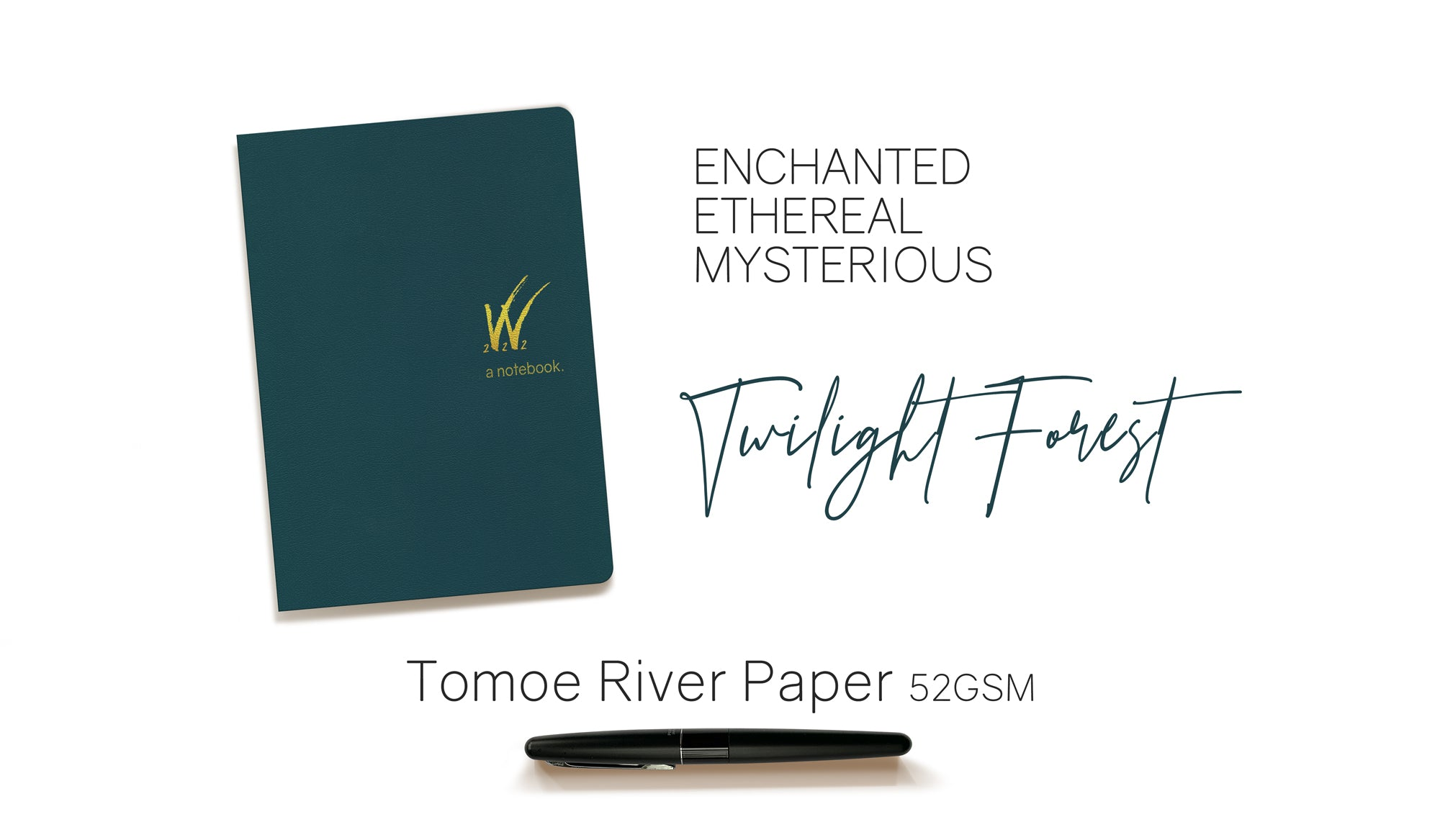 B6 52gsm Tomoe River Paper Notebook with teal cover by Wonderland 222.  368 pages of smooth, ultra lightweight fountain pen friendly Tomoe River Paper.