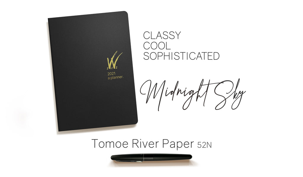 A5 2021 Tomoe River Paper Planner 52gsm by Wonderland 222 Black Gold logo