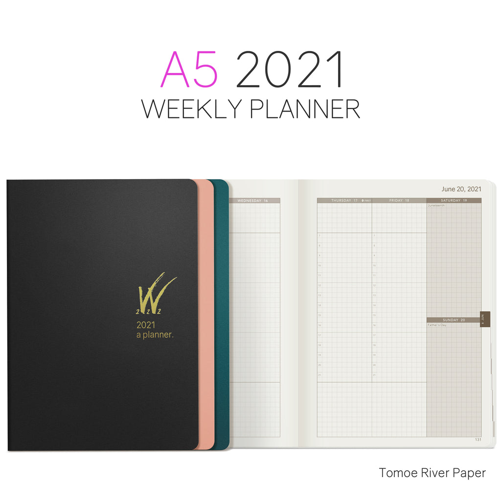 A5 2021 Tomoe River Paper Planner 52gsm by Wonderland 222 Black Teal Pink Gold Logo W222