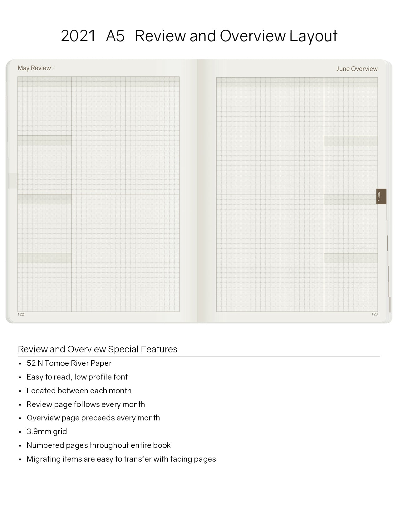A5 2021 Tomoe River Paper Planner 52gsm by Wonderland 222 Hybrid Bullet Journal Bujo Monthly Review and Monthly Overview Pages