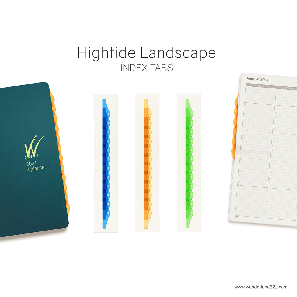 Wonderland 222 Tomoe River Paper Notebooks Planners with HighTide Landscape Monthly Index Tabs Blue Orange Green Transparent