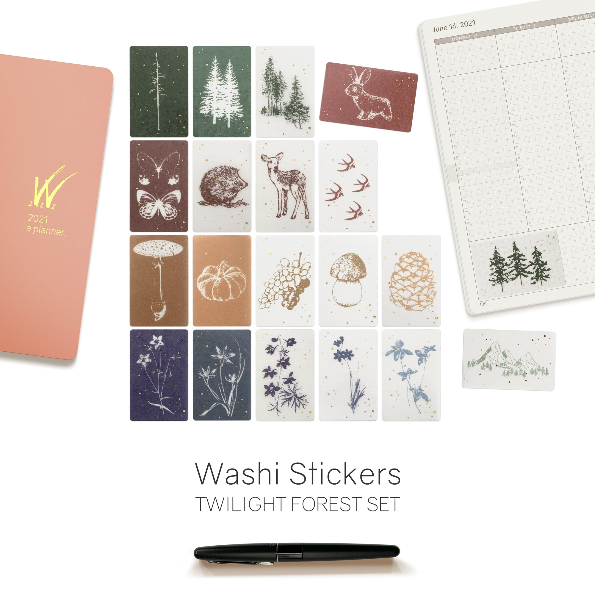 Nature Washi Stickers Flakes for Planners, Notebooks, Bullet Journals and Diaries.  Available at Wonderland 222.  Forest Flora and Fauna.  Woodland creatures.  Semi Transparent