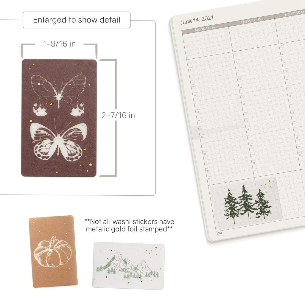 Nature washi stickers flakes for Planners, Notebooks, Bullet Journals and Diaries.  Available at Wonderland 222