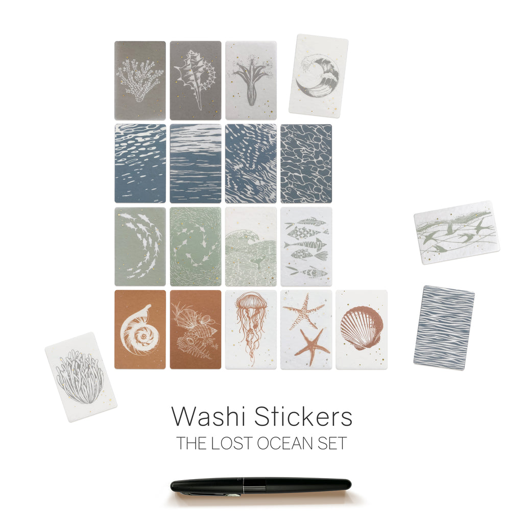 Lost Ocean Washi Sticker Flakes for Planners, Notebooks, Bullet Journals and Diaries.  Semi Transparent.  Sea and Ocean Life. Available at Wonderland 222