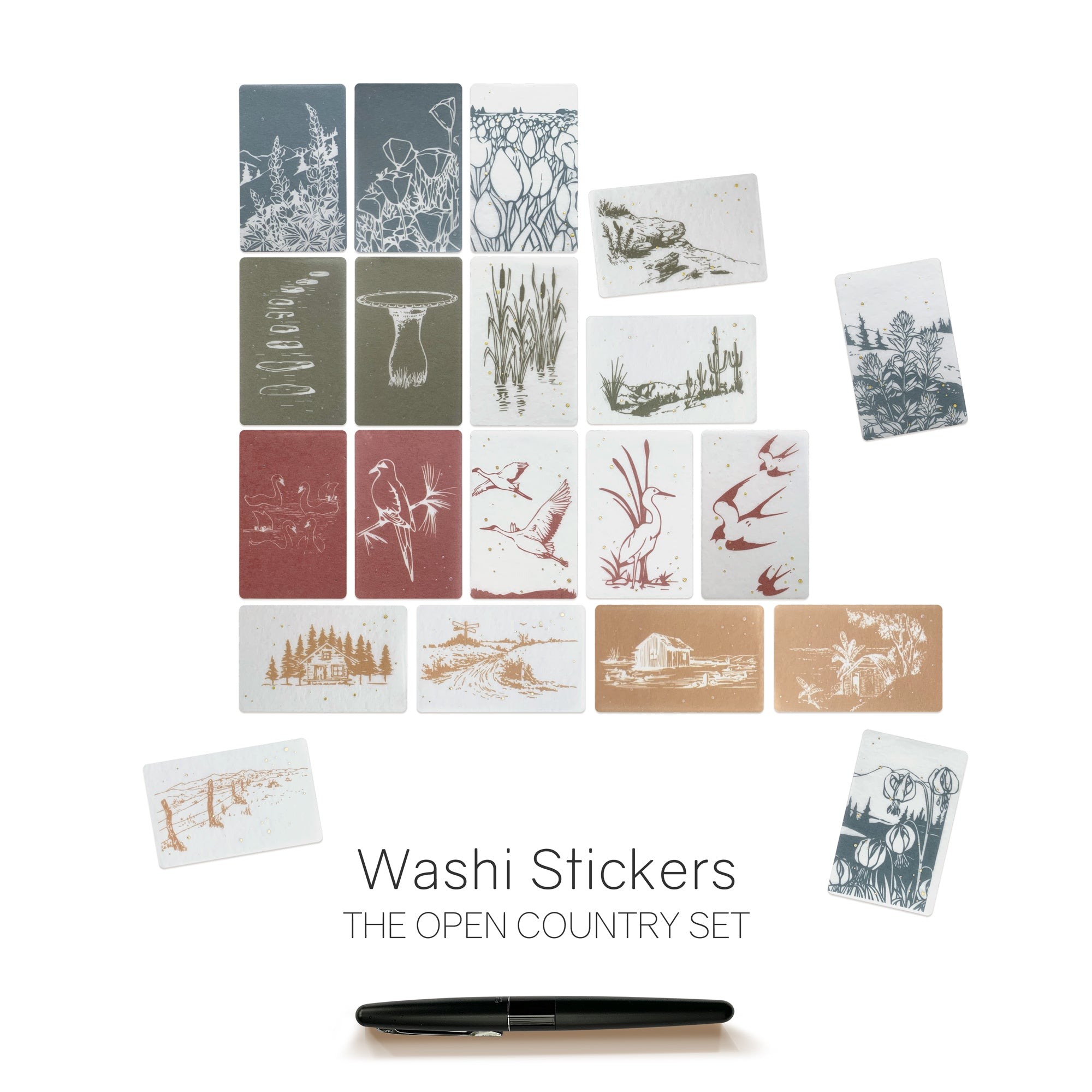 Landscape Nature Washi Stickers Flakes for Planners, Notebooks, Bullet Journals and Diaries.  Semi Transparent.  Available at Wonderland 222