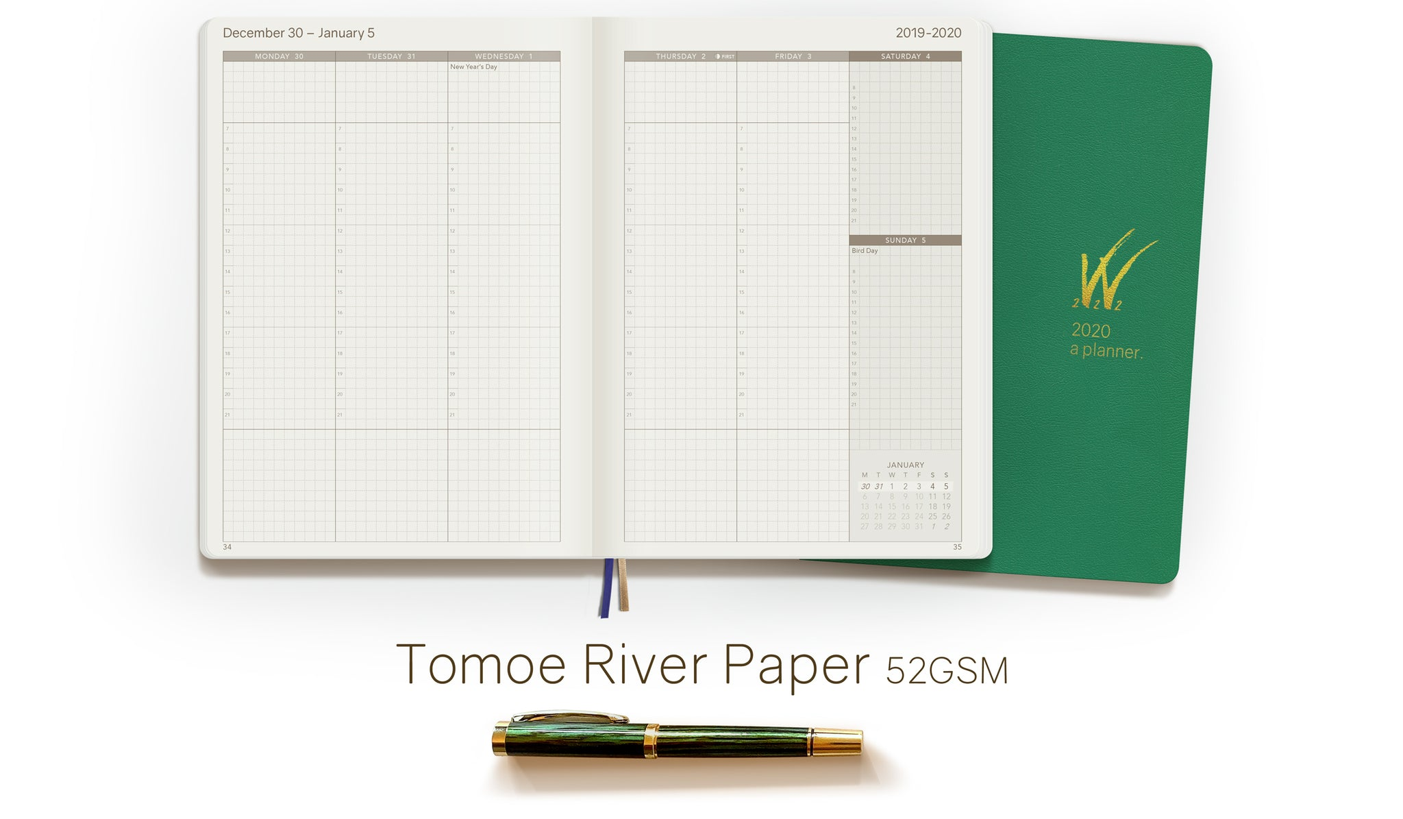 SALE:  2020 A5 Tomoe River Paper Weekly Planner - Fresh Start Green