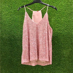 Top paillettes rosa