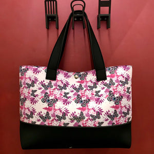 Borsa shopper in neoprene con farfalle - Piubag - Marylin Boutique