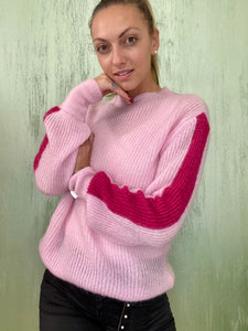 Maglione in mohair rosa fluo