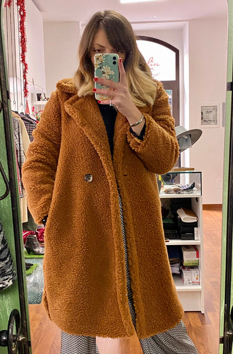 Cappotto teddy camel