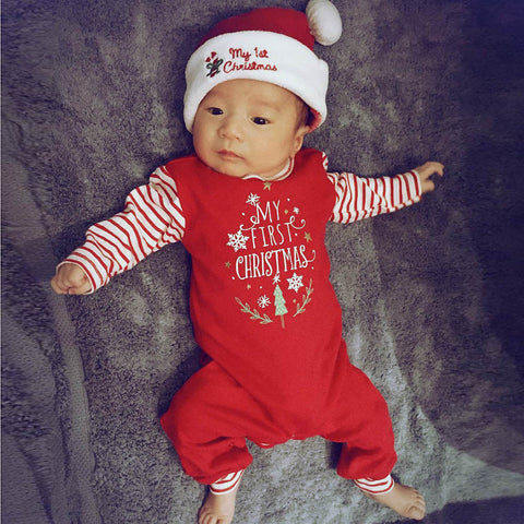 Christmas Newborn Baby Girls Boys Letter Rompers Jumpsuit Set Outfit Clothes