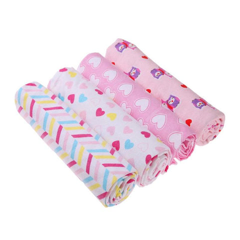 4pcs/set Cotton Baby Blanket Cartoon Owl Heart Print Newborn Swaddle Blanket Bedding Cover Infant Bathing Towel