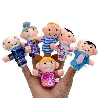 6Pcs/set Family Finger Puppets Cloth Doll Baby Educational Hand Toy Story Kid