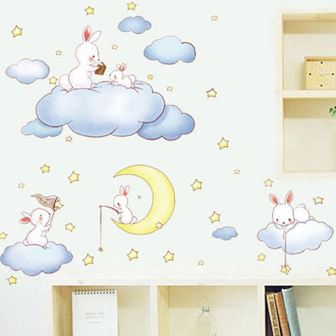Wall sticker Cartoon White Clouds Rabbit Wall Stickers For Kids Rooms Baby Bedroom Home Decor Moon And The Stars Wall Decals