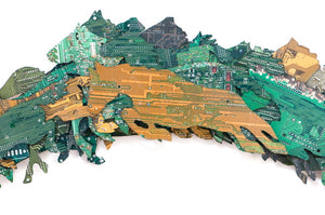 """Fence Jump"" Circuit Board Sculpture"