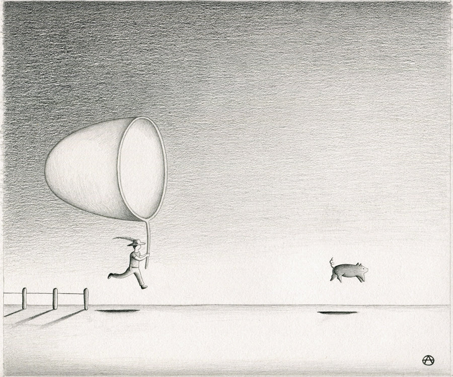 Run Away Pig Original Pencil Sketch by Anais Gerber