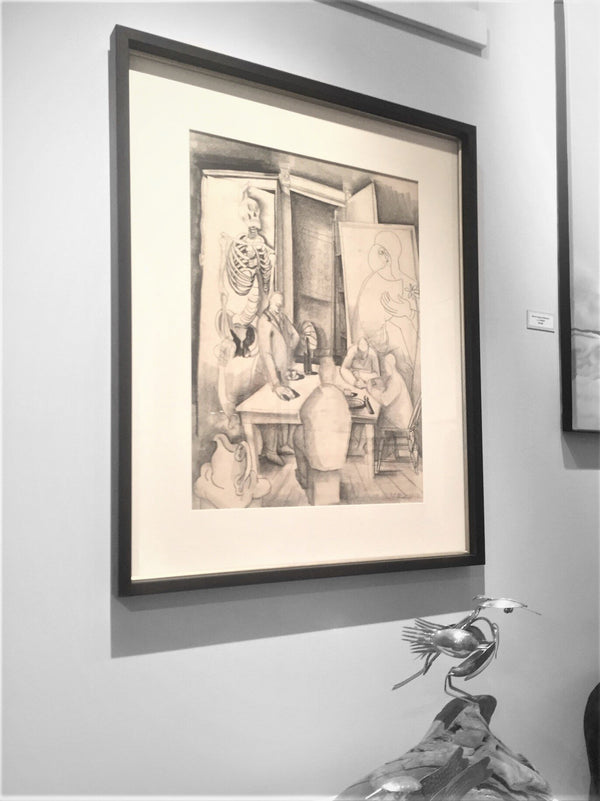1940s Original Charcoal Drawing by Jack Shadbolt - Art School Lunchroom