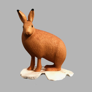 Arctic Hare Miniature Animal wood carving by Salt Spring Island artist Jim Dearing