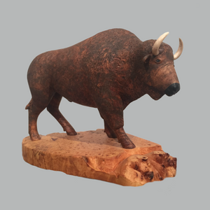 Bison Miniature Animal wood carving by Salt Spring Island artist Jim Dearing
