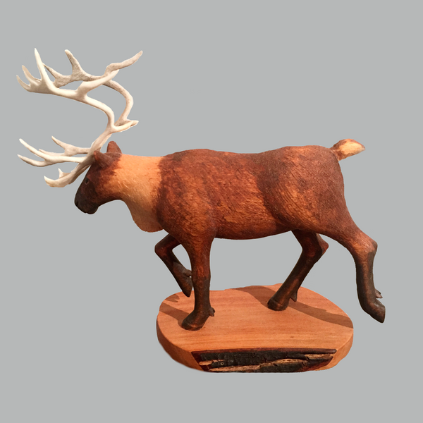 Caribou Miniature Animal wood carving by Salt Spring Island artist Jim Dearing