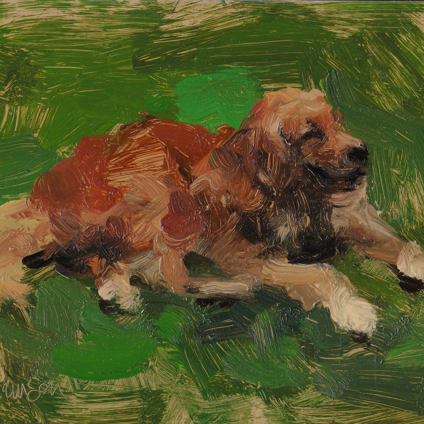 Dog Waiting III Mel Williamson Oil Painting from Salt Spring Island featuring yellow dog