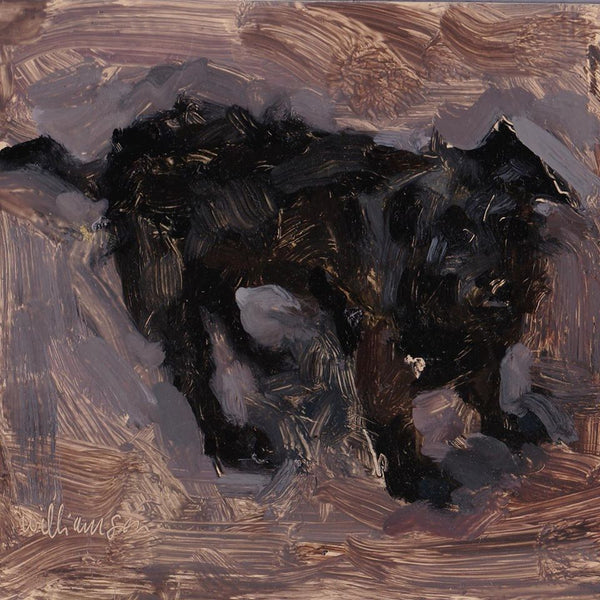 dog waiting II oil on board by mel williamson salt spring artist featuring scruffy black dog