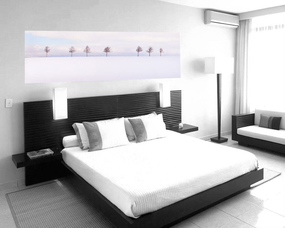 steven friedman's panoramic photograph hung above bed featuring seven trees spectacular soft sunset colours on snow scene in japan