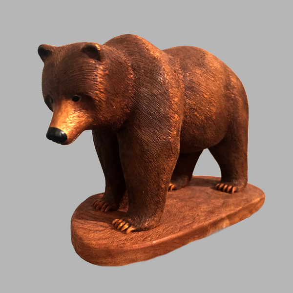Grizzlyl Minature Animal wood carving by Salt Spring Island artist Jim Dearing