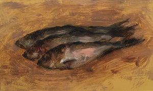 Small oil painting of herring fish dead after fishing trip in mel willamson's signature classic painting style no frame