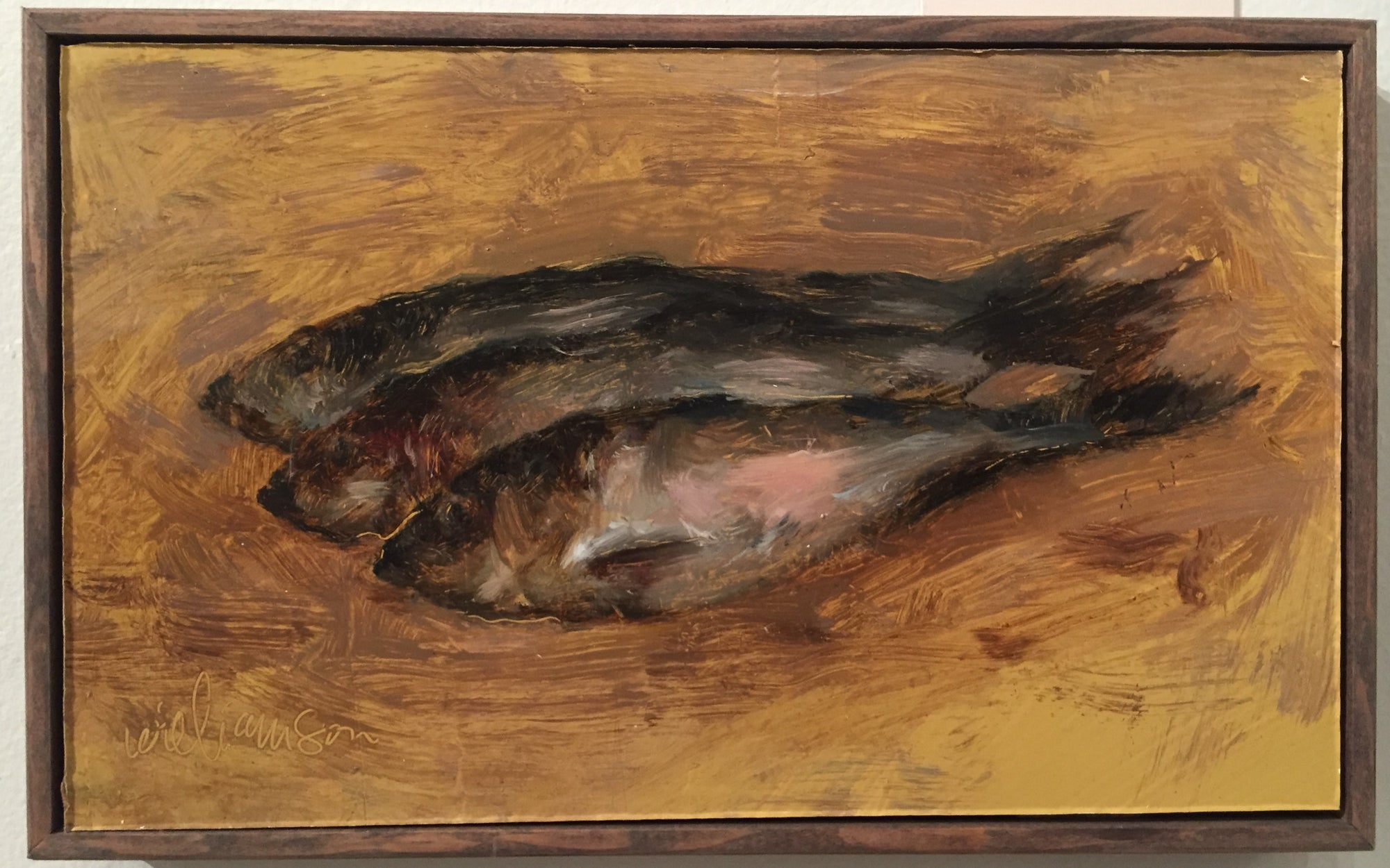 Small oil painting of herring fish dead after fishing trip in mel willamson's signature classic painting style