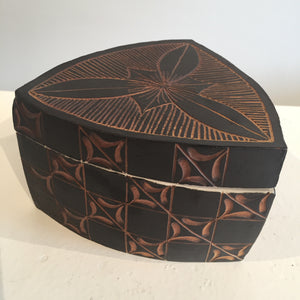 Black and Brown Triangular Box by Judy Weeden Front Side