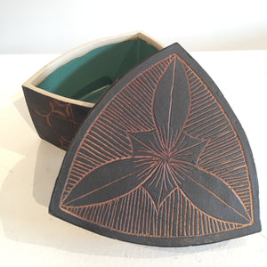 Black and Brown Triangular Box by Judy Weeden Top Off