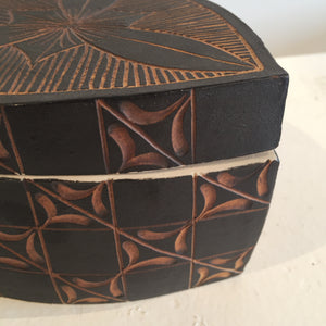 Black and Brown Triangular Box by Judy Weeden Close up