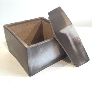 Smoke-fired Box Ceramics by Judy Weeden with Lid Open