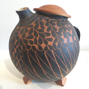 Black and Terracotta Signature Broody Hen Teapot Left Side