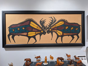 Two Bull Moose Original Painting by Norval Morrisseau