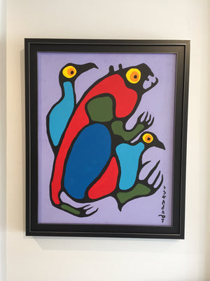 "Original Noval Morrisseau Painting ""Beaver with Birds"" for sale at Steffich Fine Art"