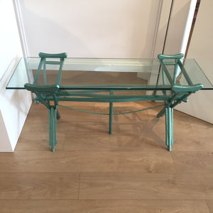 Peter McFarlane Reused Materials A Glass Table made of old wooden crutches painted emerald green